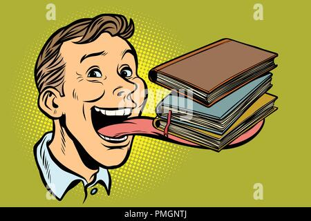 man with books in a long tongue - Stock Photo