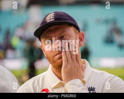 Kia Oval, London, UK. 11th Sept 2018. Specsavers England v India Test Match Cricket, 5th test, day 5; Jonny Bairstow - England's wicket keeper after. - Stock Photo