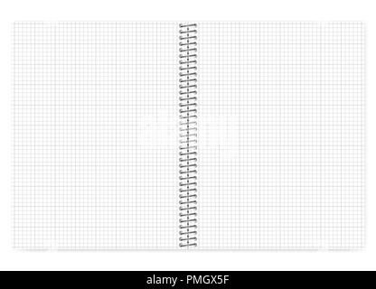 open grid lined wire bound notebook with pink spiral vector mock up