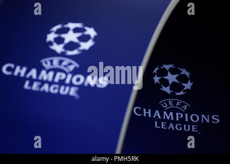 Camp Nou, Barcelona, Spain. 18th Sep, 2018. UEFA Champions League football, FC Barcelona versus PSV; The Uefa Champions League logo on display in the stadium Credit: Action Plus Sports/Alamy Live News - Stock Photo