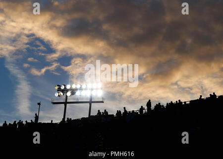 Camp Nou, Barcelona, Spain. 18th Sep, 2018. UEFA Champions League football, FC Barcelona versus PSV; View of the grandstand and the sky of the Camp Nou stadium in silhouette Credit: Action Plus Sports/Alamy Live News - Stock Photo