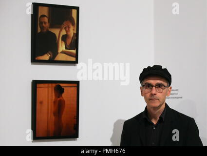 ST PETERSBURG, RUSSIA - SEPTEMBER 18, 2018: American filmmaker Jem Cohen at an exhibition of his photos titled 'Jem Cohen. Looking for the Permanent Ghost' opened at St Petersburg's KGallery as part of the 28th Message to Man International Film Festival. Peter Kovalev/TASS - Stock Photo