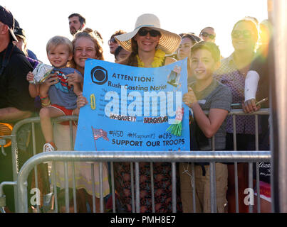 September 16, 2018 - Fans during the Hawaii Five-O and Magnum P.I. Sunset On The Beach event on Waikiki Beach in Honolulu, Hawaii - Michael Sullivan/CSM - Stock Photo