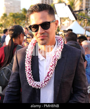 September 16, 2018 - Jay Hernandez during the Hawaii Five-O and Magnum P.I. Sunset On The Beach event on Waikiki Beach in Honolulu, Hawaii - Michael Sullivan/CSM - Stock Photo