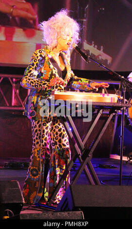 September 16, 2018 - Cyndi Lauper performs during the Hawaii Five-O and Magnum P.I. Sunset On The Beach event on Waikiki Beach in Honolulu, Hawaii - Michael Sullivan/CSM - Stock Photo