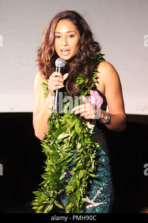 September 16, 2018 - Meaghan Rath during the Hawaii Five-O and Magnum P.I. Sunset On The Beach event on Waikiki Beach in Honolulu, Hawaii - Michael Sullivan/CSM - Stock Photo