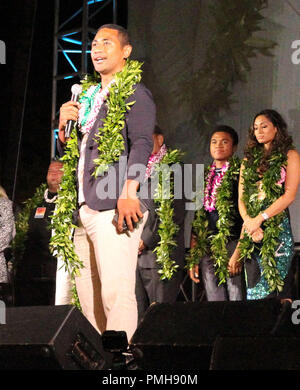 September 16, 2018 - Beulah Koale during the Hawaii Five-O and Magnum P.I. Sunset On The Beach event on Waikiki Beach in Honolulu, Hawaii - Michael Sullivan/CSM - Stock Photo