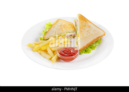 Sandwich with scrambled eggs, bacon, ham, and lettuce, French fries and ketchup, barbecue sauce. Side view. Serving for a cafe, a restaurant in the me - Stock Photo
