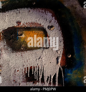 old cement plaster walls with traces of paint. Element of design. Background and surface. - Stock Photo