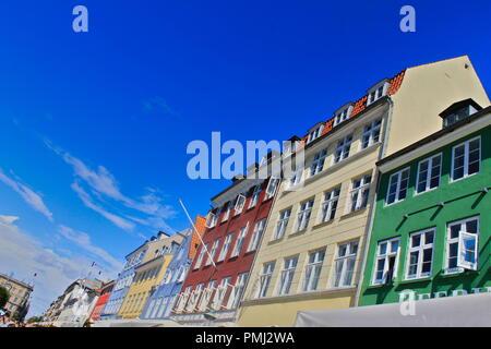Colourful houses in Copenhagen - Stock Photo