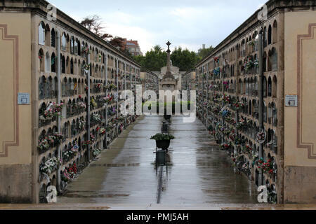 Poblenou Cemetery columbarium walls at - Cementiri de l'Est in Barcelona, Spain - Stock Photo