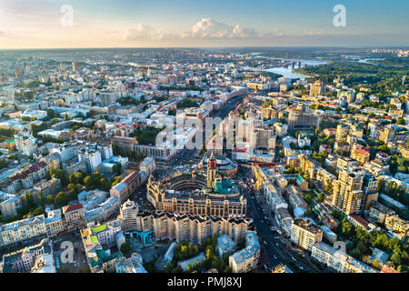 Aerial view of Besarabka and Khreshchatyk, the main street of Kiev - Stock Photo