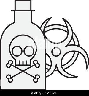poison bottle hazard danger radiation sign - Stock Photo