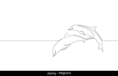 Single continuous line art marine dolphin swim jump silhouette. Nature ocean ecology life environment concept. Big sea wave design one sketch outline drawing vector illustration - Stock Photo