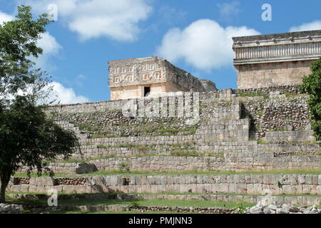 The Uxmal site presents an excellent state of conservation of the structures and is an example of Mayan architecture - Stock Photo