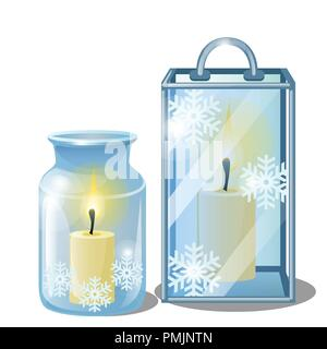 Set of decorative elements on theme of Christmas and New year isolated on white background.Glass transparent lamps or glowing lanterns with burning candles. Sketch for card, poster, party invitations. - Stock Photo