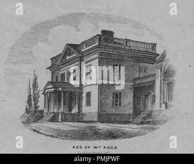 Engraving of William Paca residence in Queenstown, Maryland, signer of the United States Declaration of Independence and Governor of Maryland, 1865. From the New York Public Library. () - Stock Photo