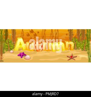 Beautiful underwater scene, seascape with seaweed and starfish, marine sea bottom with three-dimensional letters and lettering autumn. Poster on theme of golden autumn. Vector cartoon close-up. - Stock Photo
