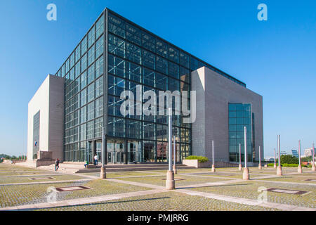 Zagreb, Croatia, building of the national and university library in Zagreb, Croatia, modern architecture, glass facade - Stock Photo