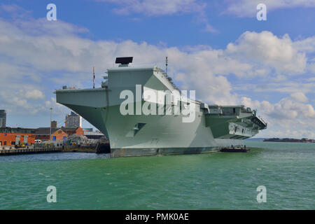 HMS Queen Elizabeth at Portsmouth. The  Queen Elizabeth-class aircraft carrier  will be the largest & most powerful warships in UK history - Stock Photo