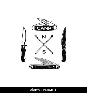 Vintage hand drawn camping adventure icons. Hiking shapes - matches and knifes. Retro monochrome design. Can be used for t shirts, prints. Stock vector symbols isolated on white - Stock Photo