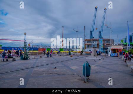 VALPARAISO, CHILE - SEPTEMBER, 15, 2018: Port of Valparaiso. Valparaiso is an important port city on the Pacific Coast of Chile - Stock Photo