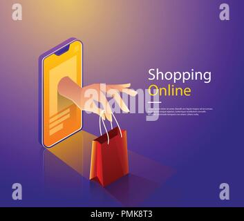Mobile shopping flat vector concept. Hand of delivery man with shopping bag from cloud and customers - Stock Photo