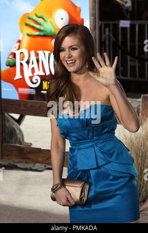 Isla Fisher at the Los Angeles premiere of Paramount Pictures' 'Rango'. Arrivals held at the Regency Village Theater in Westwood, CA, February 14, 2011. Photo by: Richard Chavez / PictureLux - Stock Photo