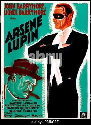 Prod DB © Metro-Goldwyn-Mayer / DR ARSENE LUPIN (ARSENE LUPIN) de Jack Conway 1932 USA affiche d'apres la piece de Francis de Croisset d'apres le personnage de Maurice Leblanc code MGM: 596 - Stock Photo
