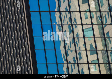 Reflections in Office Buildings, Downtown Birmingham Alabama - Stock Photo