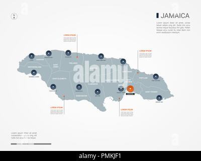 Jamaica map with borders, cities, capital and administrative divisions. Infographic vector map. Editable layers clearly labeled. - Stock Photo