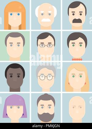 Men and women flat avatars set with faces. people portraits logo and icons collection. Vector illustration - Stock Photo