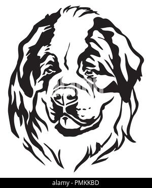 Decorative portrait of dog St. Bernard, vector isolated illustration in black color on white background - Stock Photo