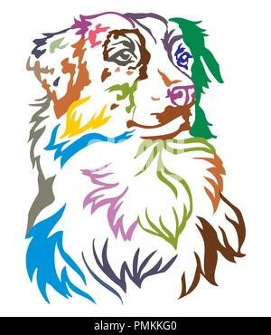 Colorful decorative portrait of dog Australian shepherd, vector illustration in different colors isolated on white background - Stock Photo