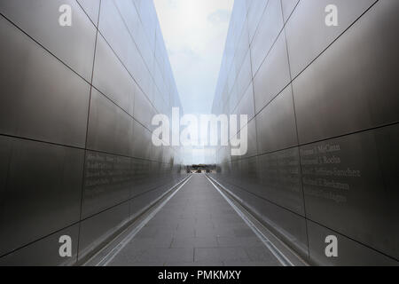 New Jersey, USA - August 19, 2018: Empty Sky Memorial New York City in Jersey City, It's located in Liberty State Park in Jersey at the mouth of Hudso Stock Photo
