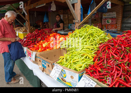 vegetable stall at Obor Market in Bucharest, Romania - Stock Photo