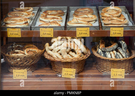 Display of bread at a bakery in Sibiu, Romania - Stock Photo