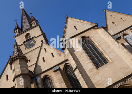 Lutheran Cathedral of St Mary in Sibiu, Romania - Stock Photo