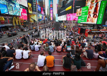 New York, USA – August 24, 2018: Crowded with many people walking Times Square with huge number of LED signs, is a symbol of New York City in Manhatta - Stock Photo
