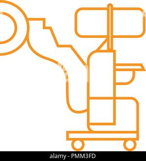 Medical robot icon, robot-assisted surgery - medical devices vector linear icon orange - Stock Photo