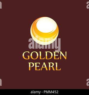 Golden Pearl - Logo for Jewelry Store. Vector Style elegant Symbol for Elite Shop. - Stock Photo