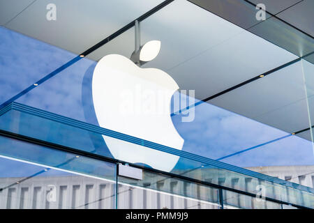 January 11, 2018 Palo Alto / CA / USA - Apple logo above the entrance to the store located in Stanford shopping center - Stock Photo