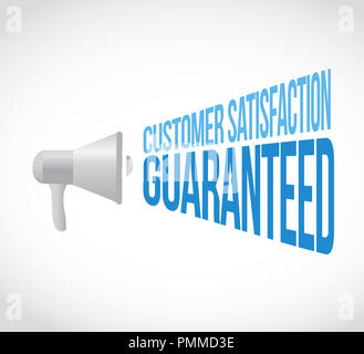 Customer Satisfaction guaranteed loudspeaker message concept isolated over a white background - Stock Photo