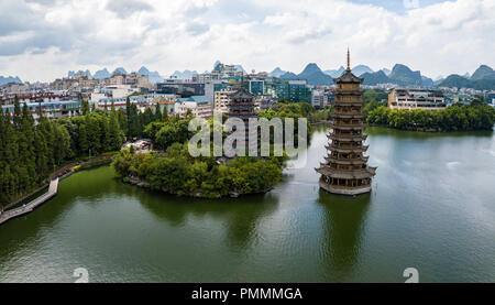 One of the more visual landmark of Guilin, especially at night when it is lit. - Stock Photo