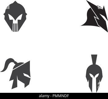 Spartan helmet logo template vector icon design - Stock Photo