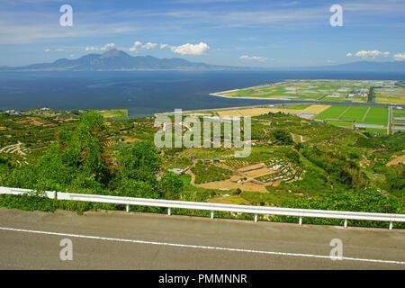 Mt. Unzen fugen and Ariake Sea, Kumamo Prefecture, Japan - Stock Photo
