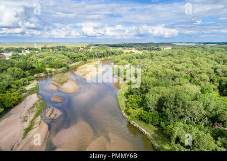 aerial view of shallow and braided Platte River near Brady, Nebraska in summer scenery - Stock Photo