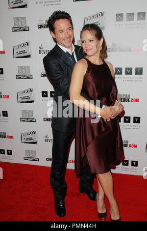 Robert Downey Jr. and his wife Susan Downey at the 25th Annual American Cinematheque Award Ceremony. Arrivals held at the Beverly Hilton Hotel's International Ballroom in Beverly Hills, CA October 14, 2011.  Photo by Joe Martinez / PictureLux - Stock Photo