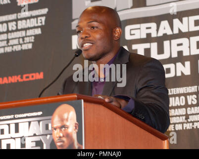 Timothy Bradley at the 'Manny Pacquiao and Timothy Bradley, Jr. New York News Conference' held at The Lighthouse at Chelsea Piers at Pier 60 in New York City, NY on Tuesday, February 23, 2012. Photo by Paulo Salud_PRPP/ PictureLux - Stock Photo