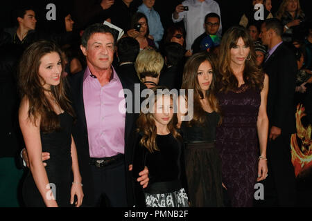 Sylvester Stallone, wife Jennifer Flavin and Family at the Premiere of Lionsgate's 'The Hunger Games'. Arrivals held at Nokia Theatre L.A. Live in Los Angeles, CA, March, 12, 2012. Photo by Joe Martinez / PictureLux - Stock Photo